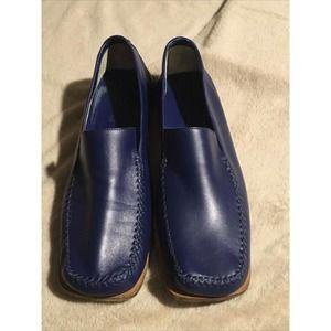 VTG Louis Vuitton Men's Blue Leather Loafers SZ10